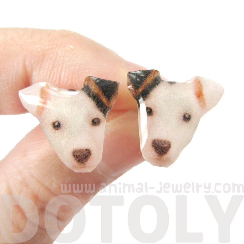 Realistic Black and White Spot Terrier Face Shaped Resin Stud Earrings