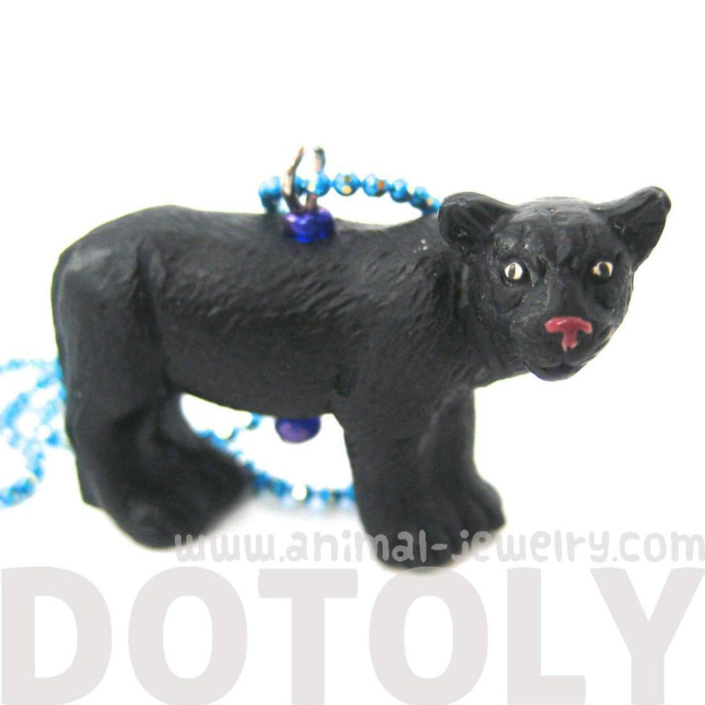 Realistic Black Panther Lion Shaped Porcelain Ceramic Pendant Necklace