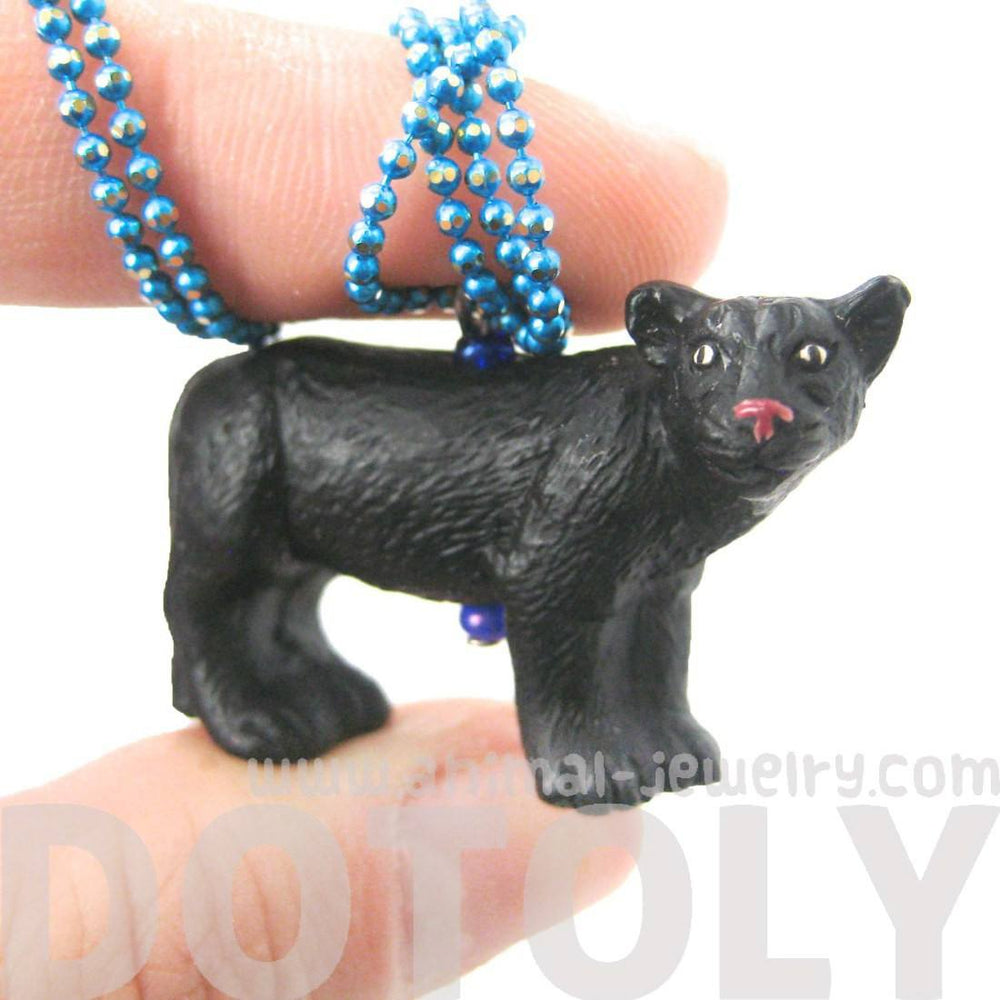 Realistic Black Panther Shaped Porcelain Ceramic Animal Pendant Necklace | Handmade | DOTOLY