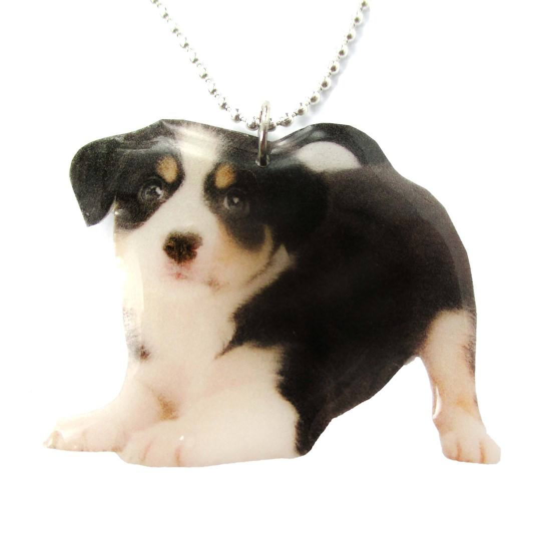 Realistic Border Collie Puppy in Playful Pose Shaped Pendant Necklace