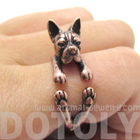 Boston Terrier Puppy Shaped Animal Wrap Ring in Copper
