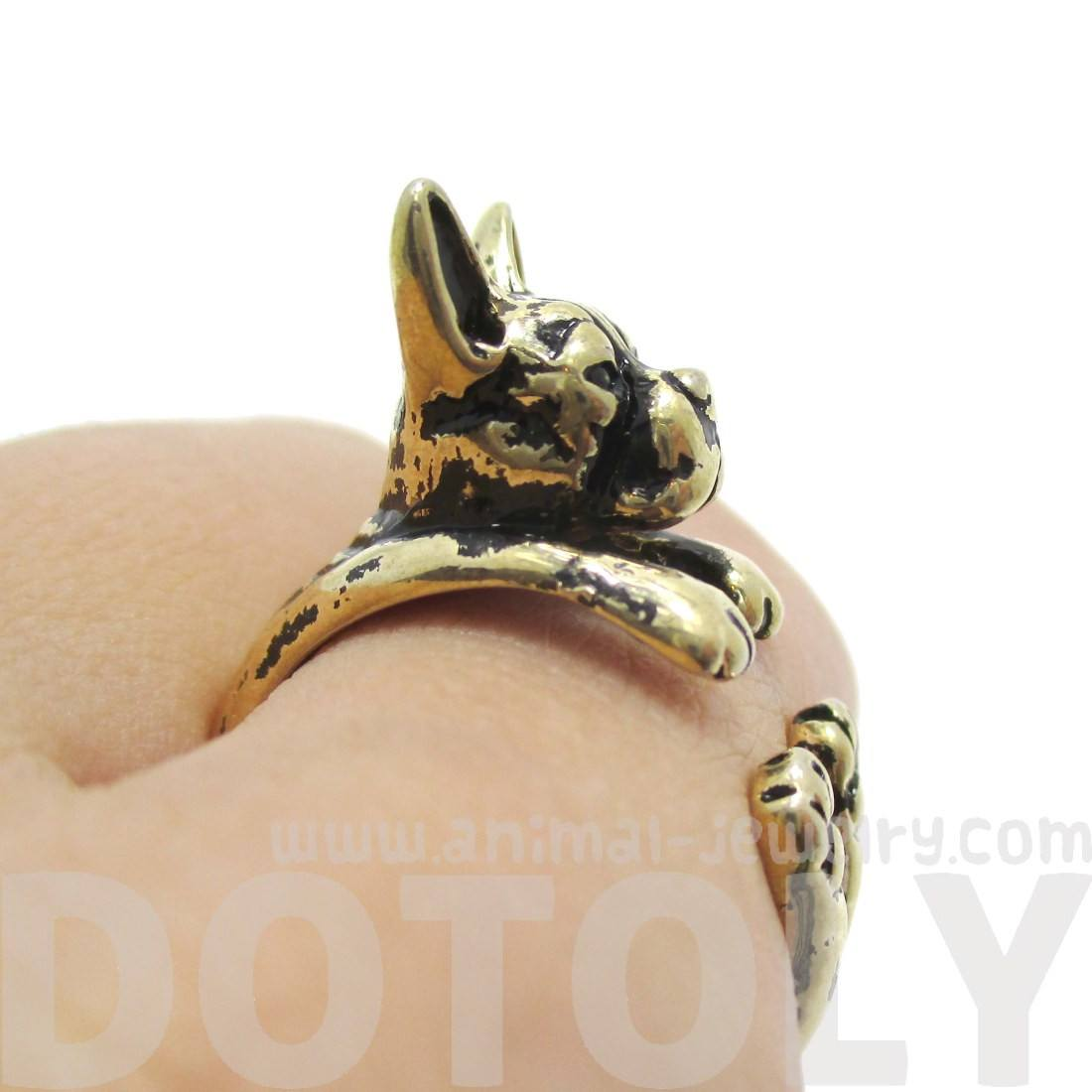 Boston Terrier Puppy Shaped Animal Ring in Shiny Gold
