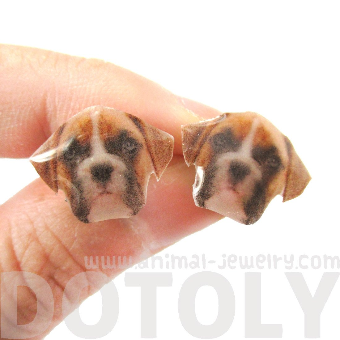 Realistic Boxer Dog Face Shaped Animal Resin Stud Earrings | Handmade