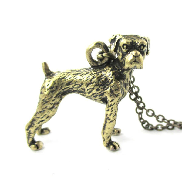 Realistic 3D Boxer Puppy Dog Shaped Animal Pendant Necklace in Brass