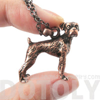 Realistic 3D Boxer Puppy Dog Shaped Animal Pendant Necklace in Copper