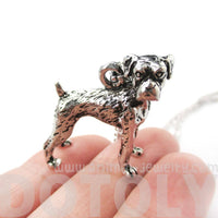 Realistic Boxer Dog Shaped Animal Pendant Necklace in Shiny Silver