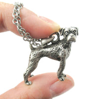Realistic 3D Boxer Puppy Dog Shaped Animal Pendant Necklace in Silver
