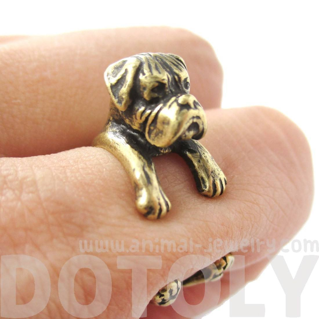 3D Realistic Boxer Dog Shaped Animal Wrap Ring in Brass