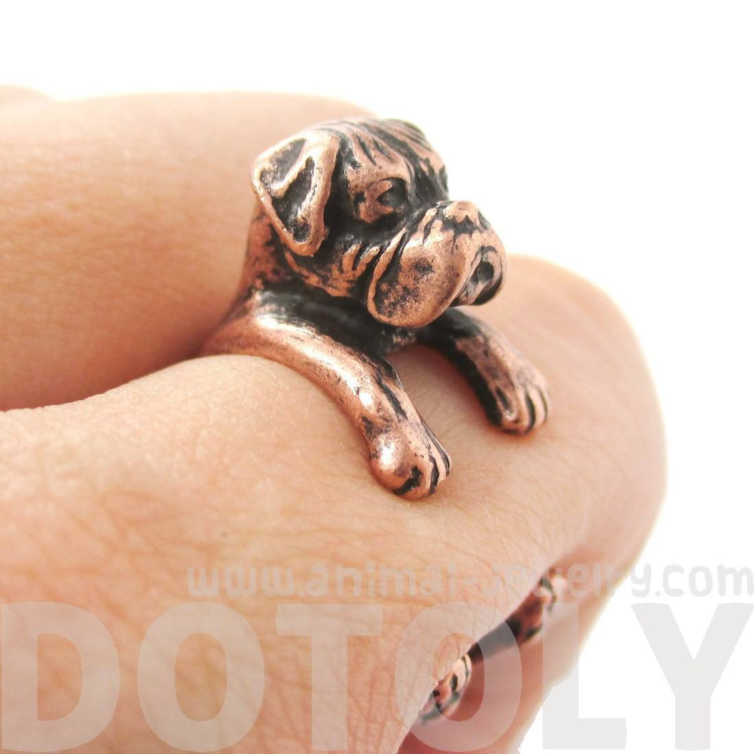 Realistic Boxer Dog Shaped Animal Wrap Ring in Copper
