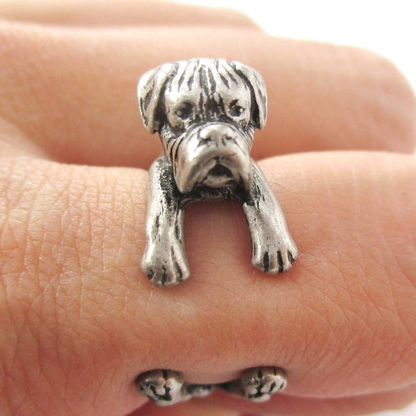 Realistic Boxer Dog Shaped Animal Wrap Ring in Silver