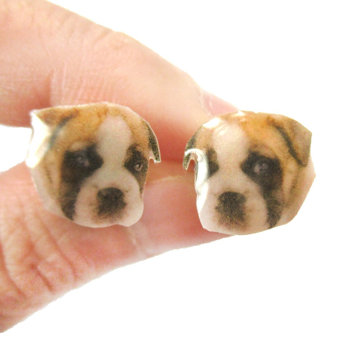 Realistic Boxer Puppy Dog Face Shaped Animal Resin Stud Earrings