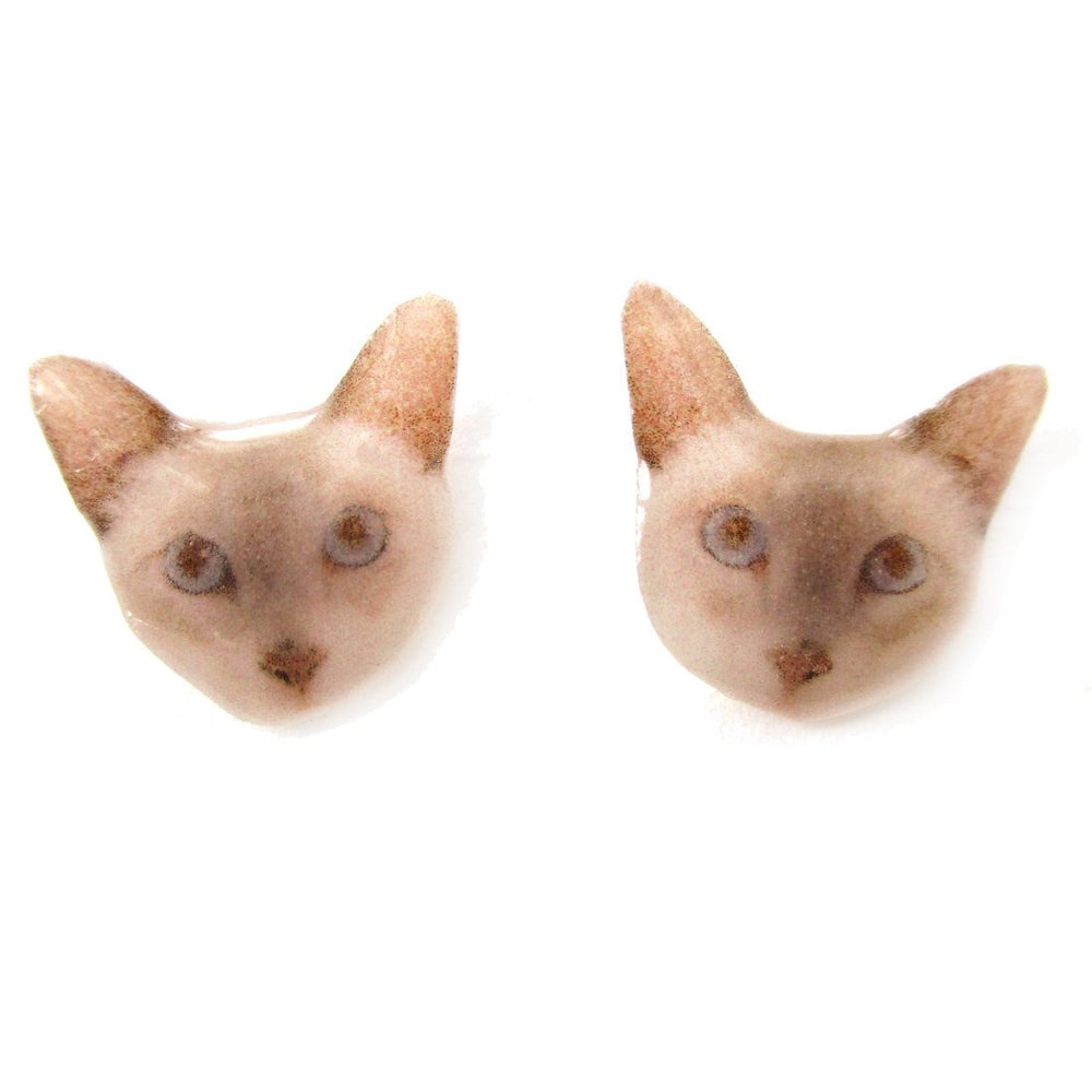 British Shorthair Kitty Cat Face Shaped Animal Resin Stud Earrings