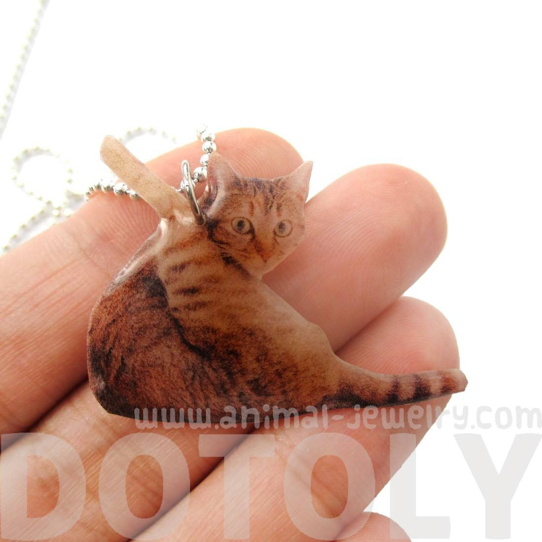 Realistic Brown Striped Tabby Kitty Cat Animal Shaped Pendant Necklace