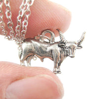Buffalo Bison Cow Bull Shaped Charm Necklace in Silver | MADE IN USA