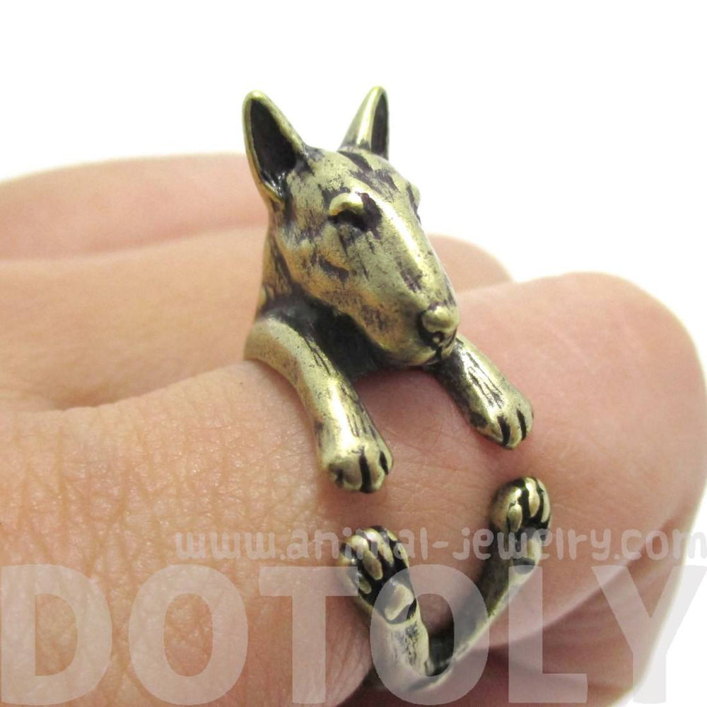 Realistic Bull Terrier Dog Shaped Animal Ring in Brass