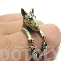 Realistic Bull Terrier Dog Shaped Animal Wrap Ring in Brass | US Sizes 5 to 9 | DOTOLY