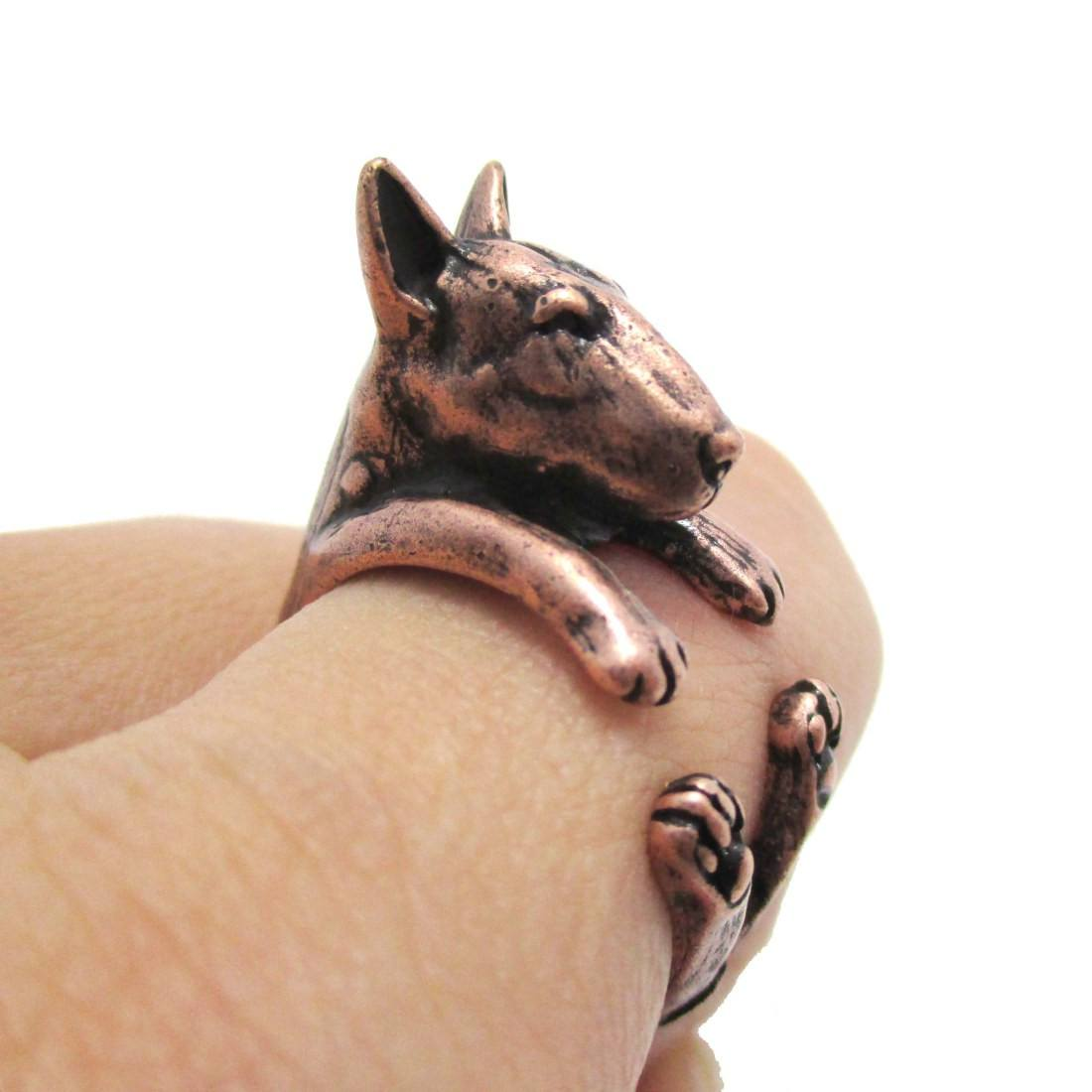 3D Bull Terrier Dog Shaped Animal Wrap Ring in Copper