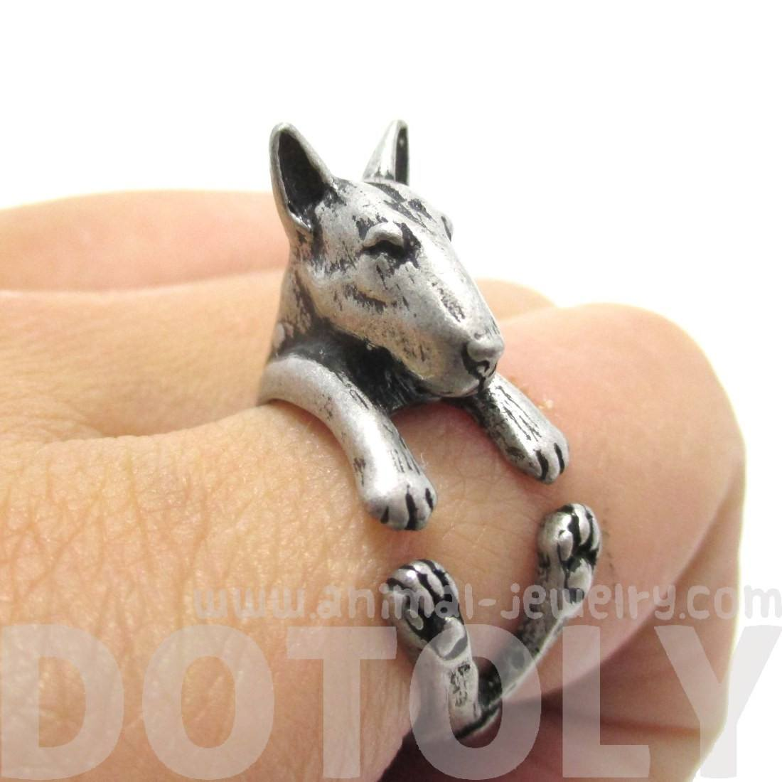 Realistic Bull Terrier Dog Shaped Animal Ring in Silver