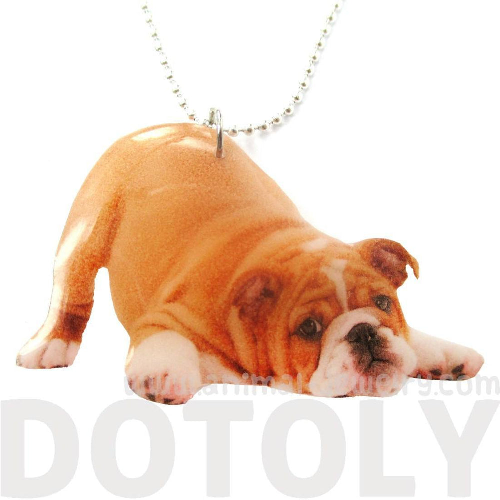Realistic Bulldog Puppy Dog in Playful Pose Shaped Pendant Necklace