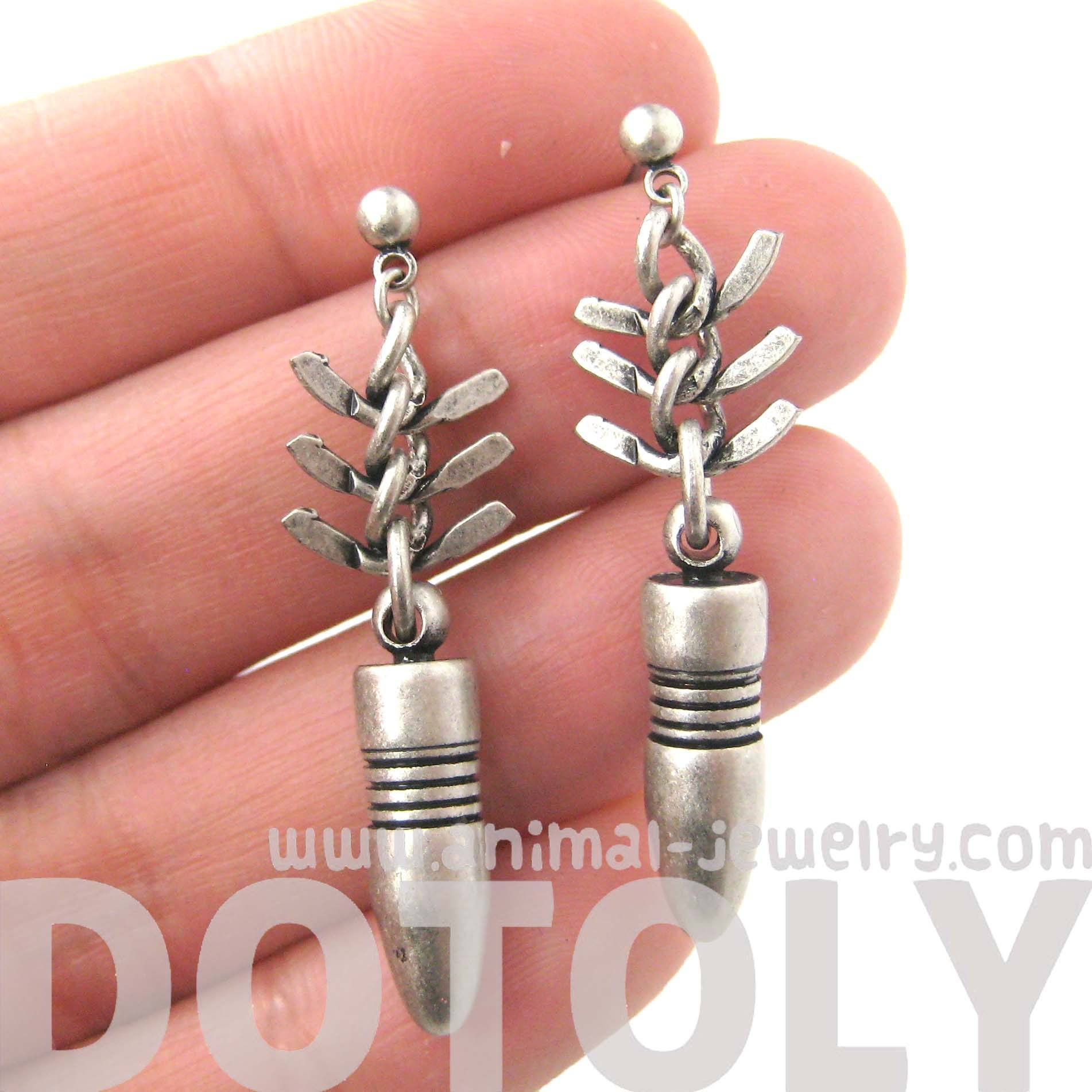 Realistic Bullet Bomb Ammo Shaped Dangle Drop Stud Earrings in Silver