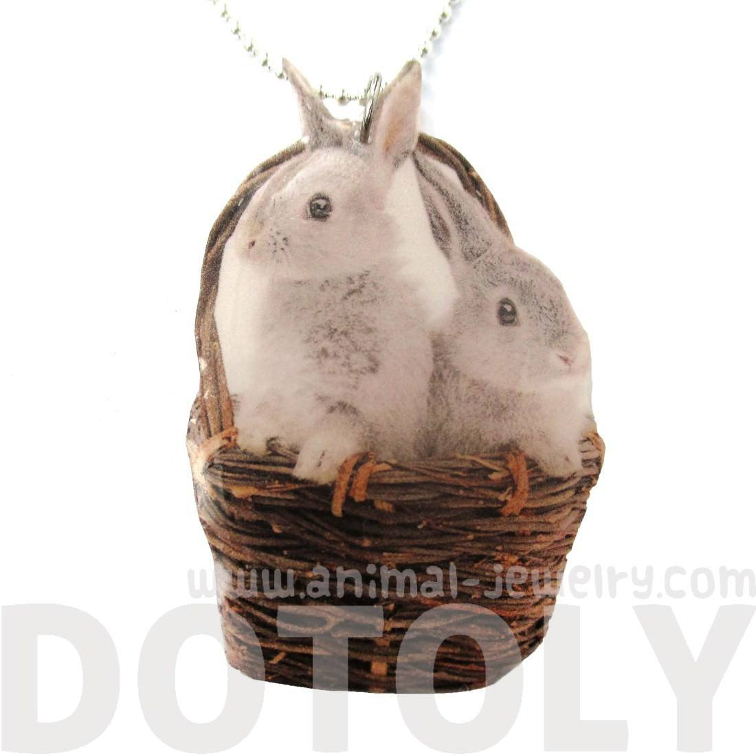 Realistic Bunnies in a Basket Animal Shaped Handmade Pendant Necklace