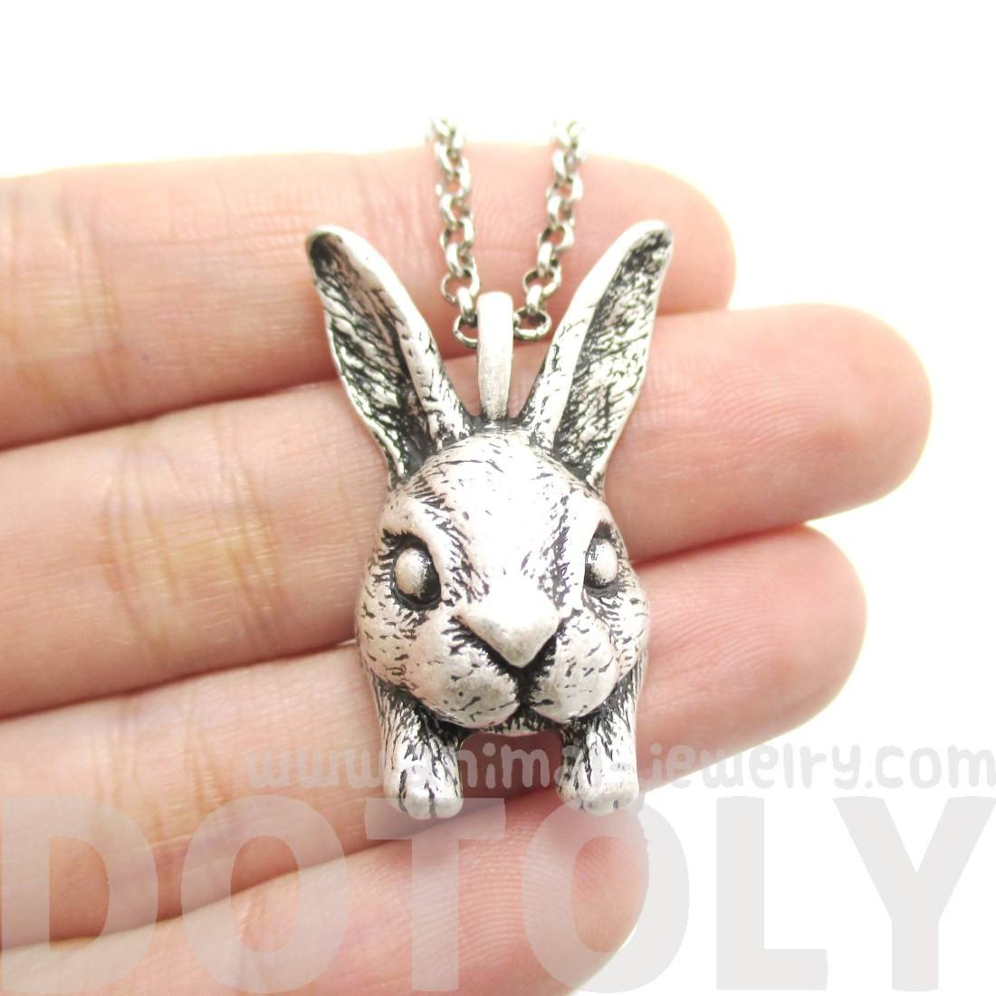 Realistic Bunny Rabbit Head Shaped Necklace in Silver