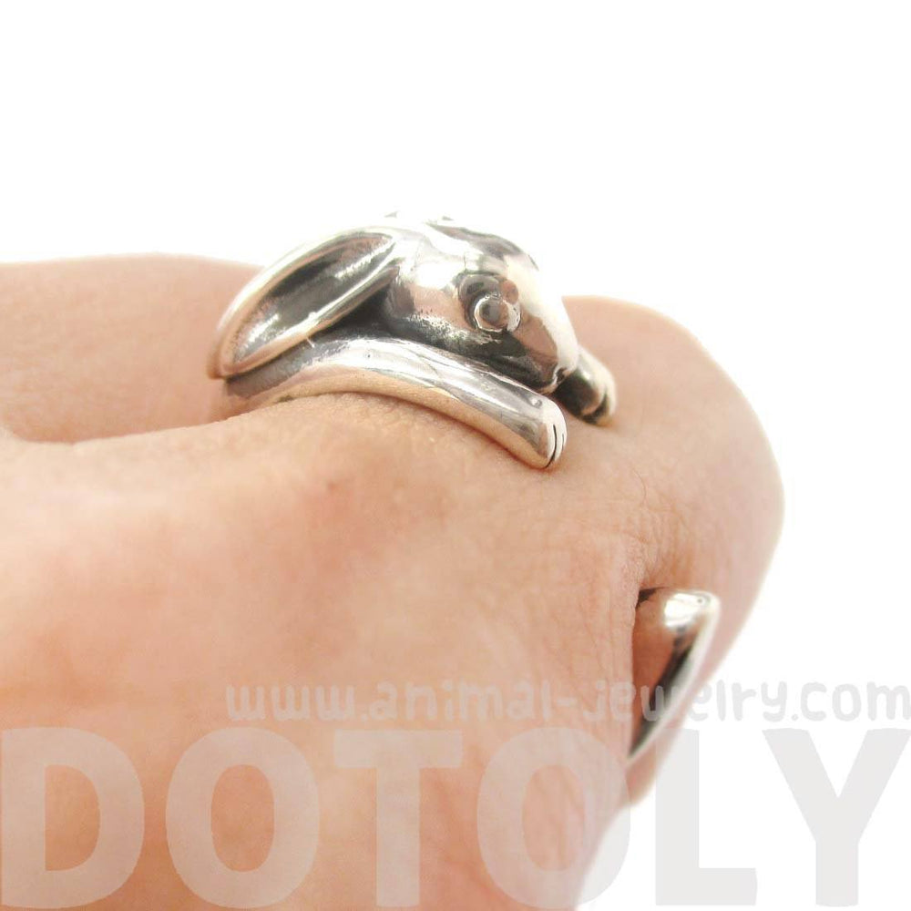 Realistic Bunny Rabbit Shaped Animal Wrap Ring in 925 Sterling Silver