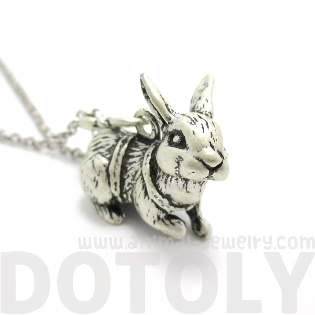3D Bunny Rabbit Shaped Pendant Necklace in Silver