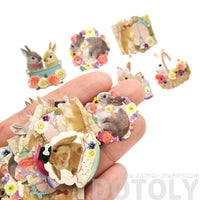 Realistic Bunny Rabbits Shaped Photo Sticker Flake Seals From Japan