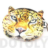 Realistic Cheetah Jaguar Leopard Face Shaped Soft Fabric Zipper Coin Purse Make Up Bag | DOTOLY