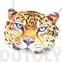 Realistic Cheetah Leopard Face Shaped Cross Body Shoulder Sling Bag
