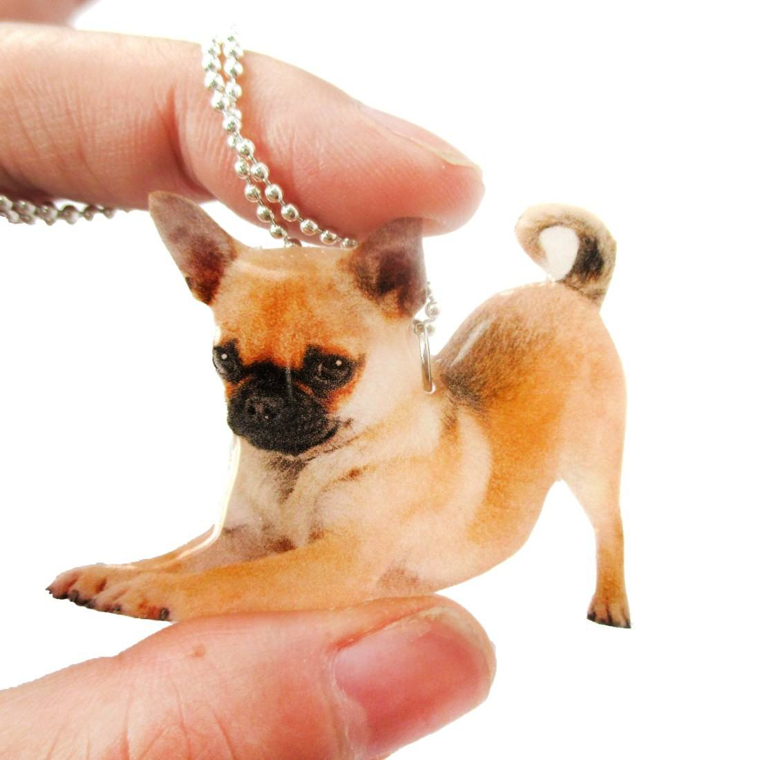 Realistic Chihuahua Puppy Dog in Playful Pose Shaped Pendant Necklace