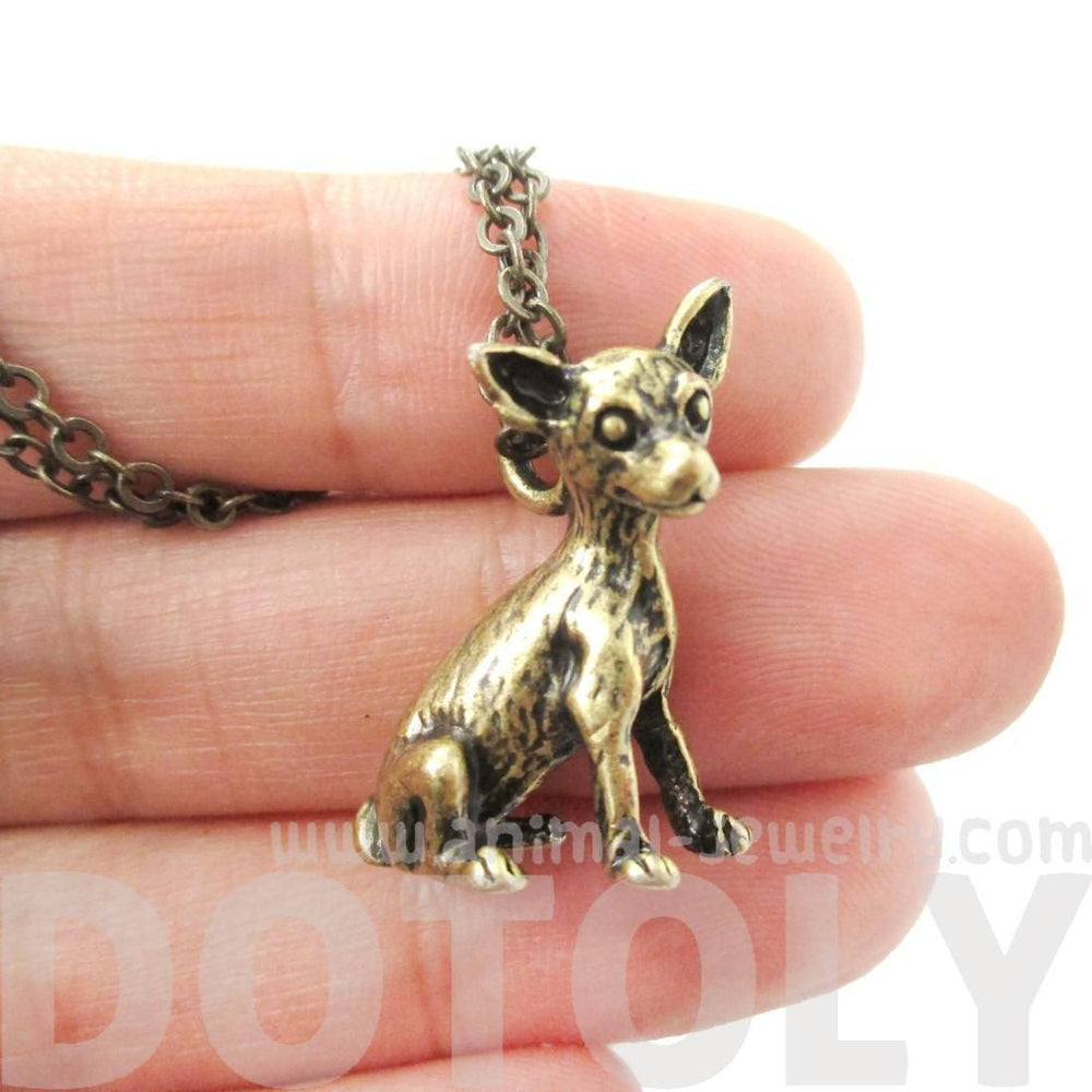 Realistic Chihuahua Puppy Dog Shaped Animal Pendant Necklace in Brass