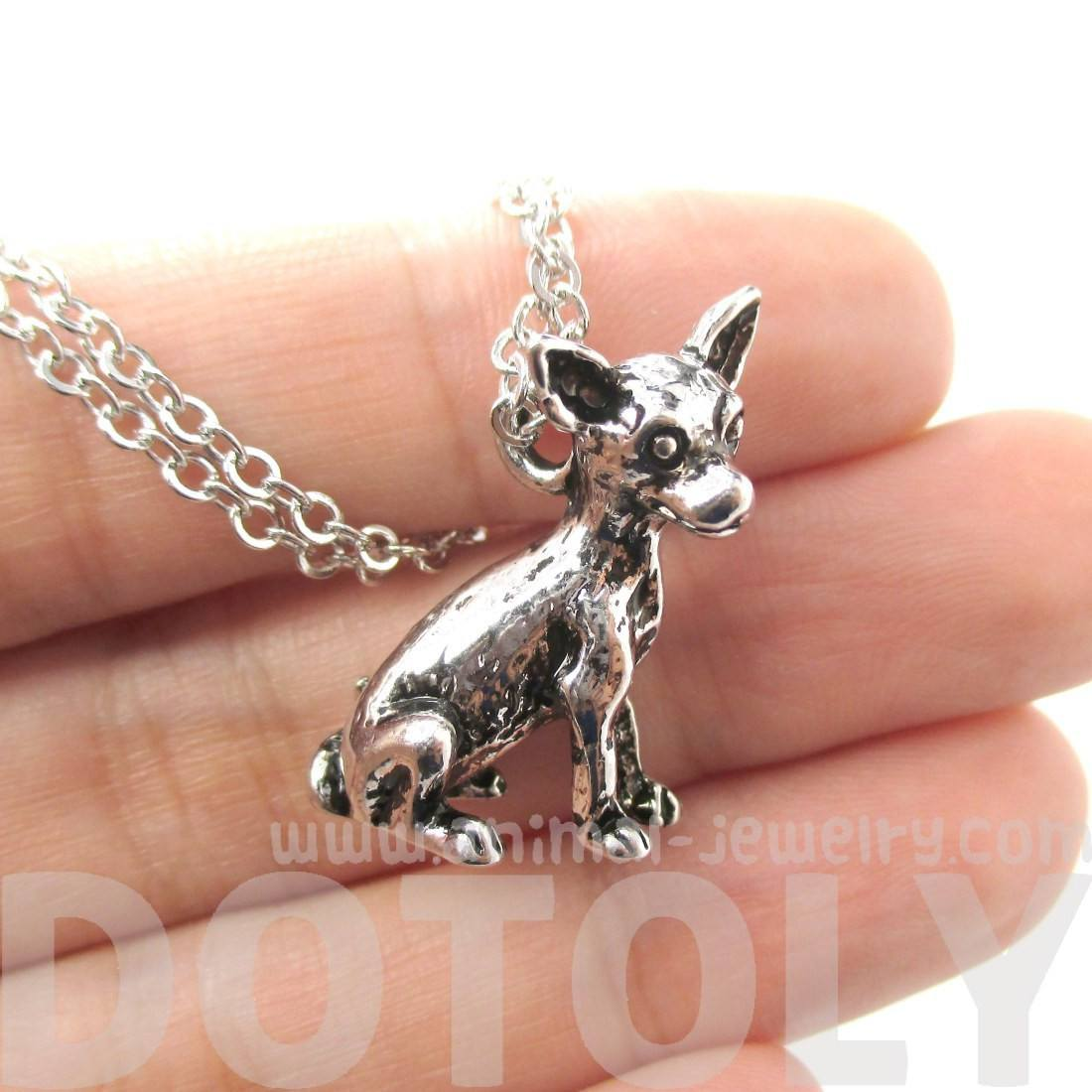 Realistic Chihuahua Dog Shaped Animal Pendant Necklace in Shiny Silver