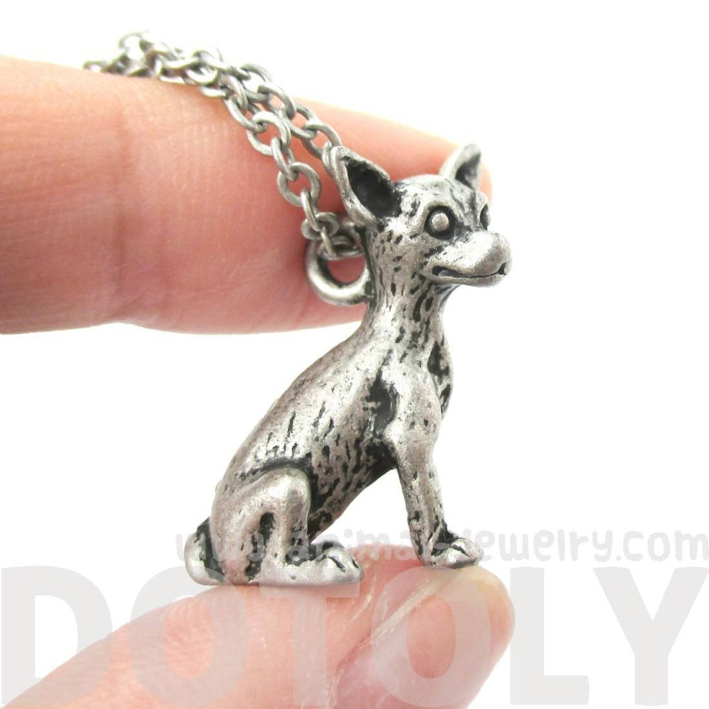 Realistic Chihuahua Puppy Dog Shaped Animal Pendant Necklace in Silver