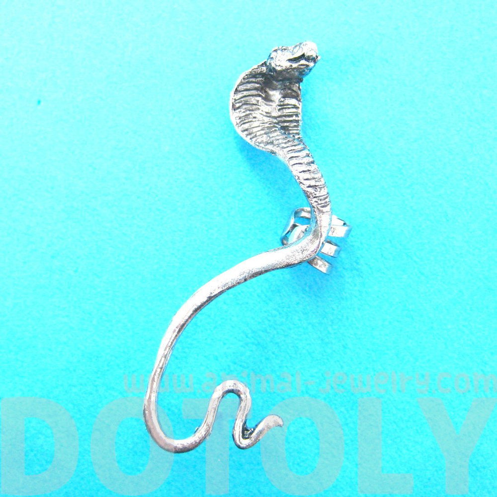 Realistic Cobra Snake Shaped Animal Wrap Ear Cuff in Silver | DOTOLY
