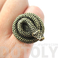 Realistic Coiled Snake On Your Finger Shaped Animal Ring in Brass