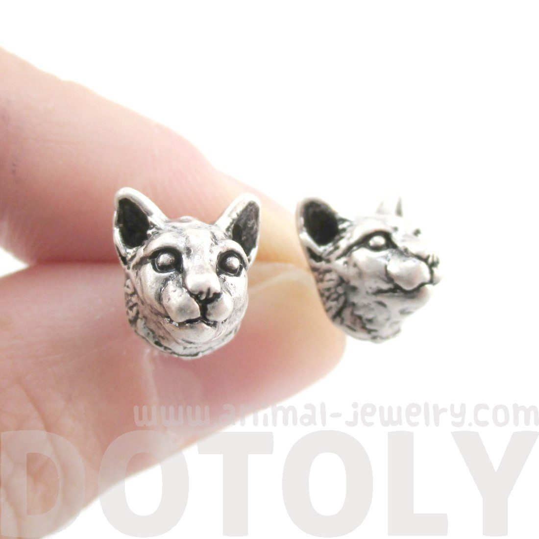 Realistic Cougar Lynx Wild Cat Shaped Stud Earrings