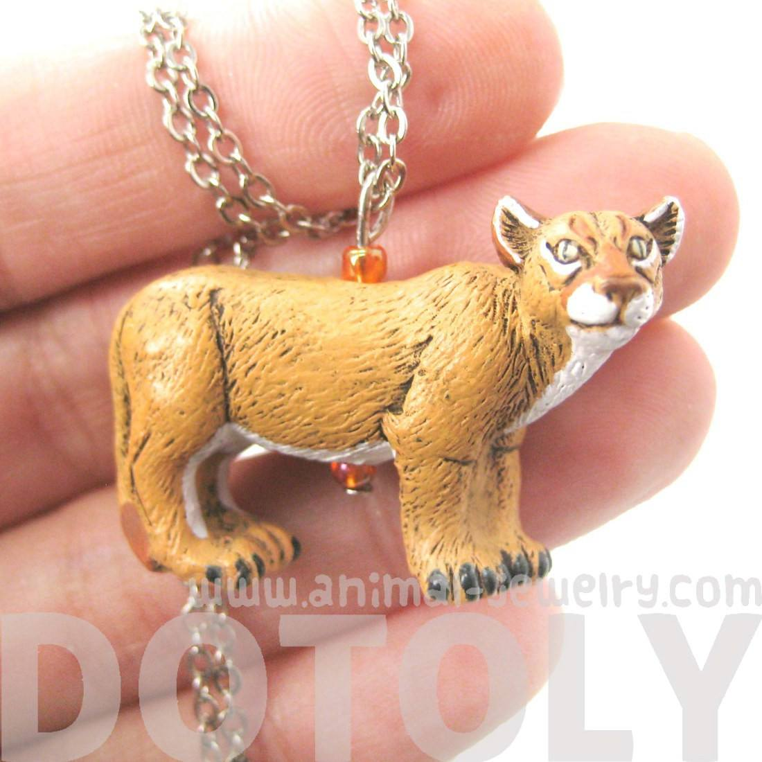 Cougar Mountain Lion Shaped Animal Porcelain Ceramic Pendant Necklace