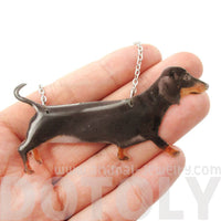 Realistic Dachshund Puppy Dog Shaped Pet Portrait Pendant Necklace