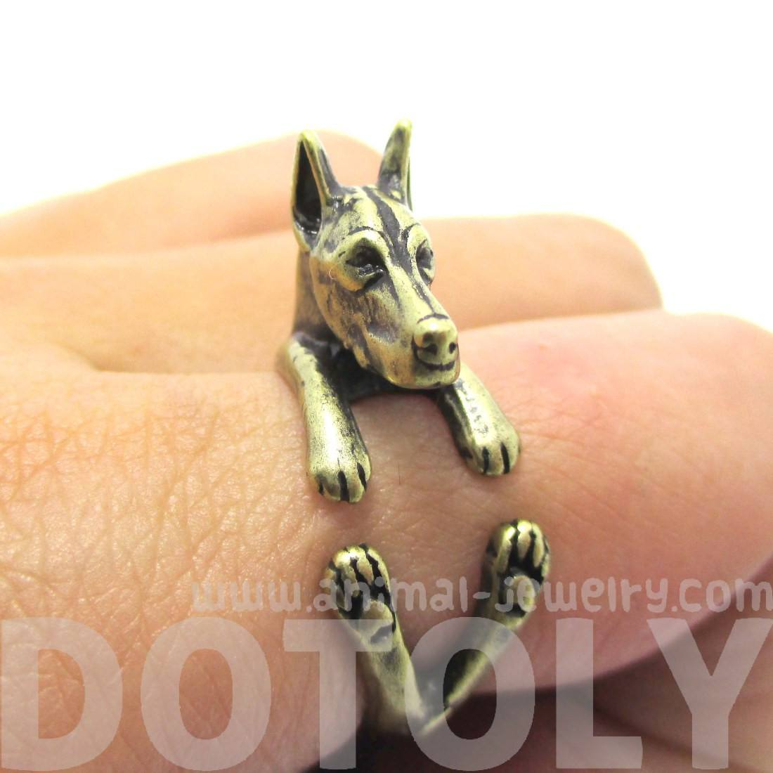 Doberman Pinscher Dog Shaped Animal Wrap Ring in Brass