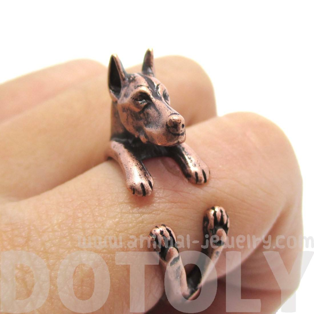 Doberman Pinscher Dog Shaped Animal Wrap Ring in Copper