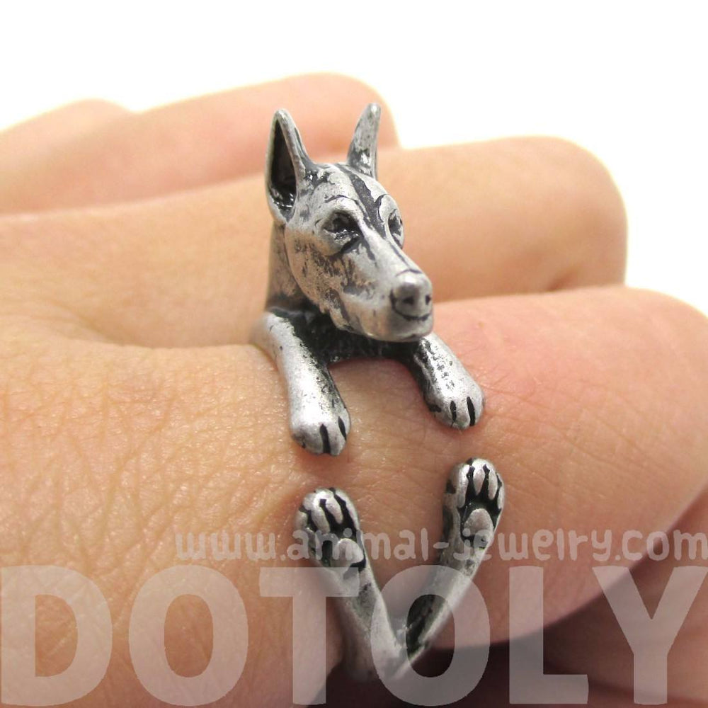 Doberman Pinscher Dog Shaped Animal Wrap Ring in Silver