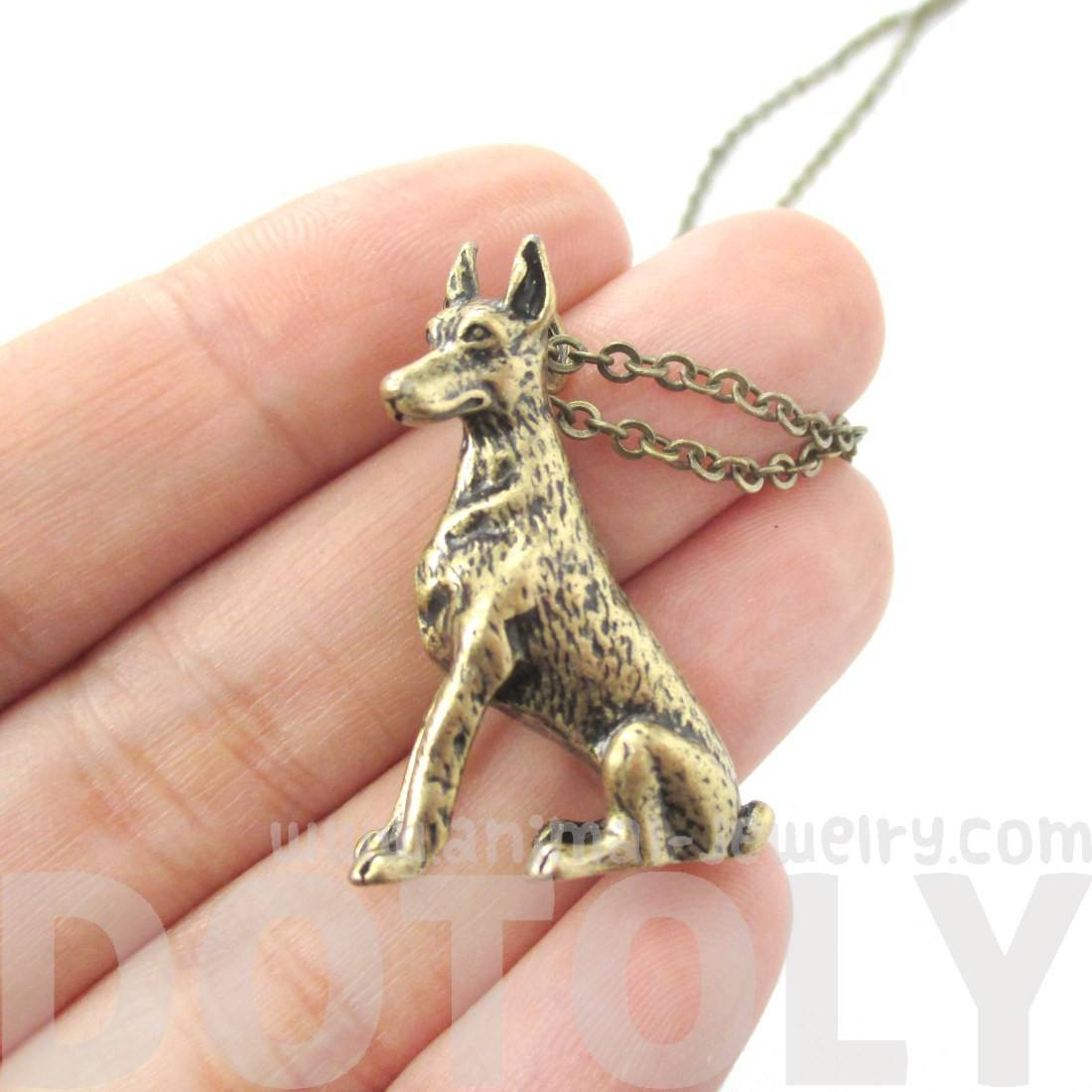 Realistic Doberman Pinscher Puppy Dog Shaped Pendant Necklace in Brass