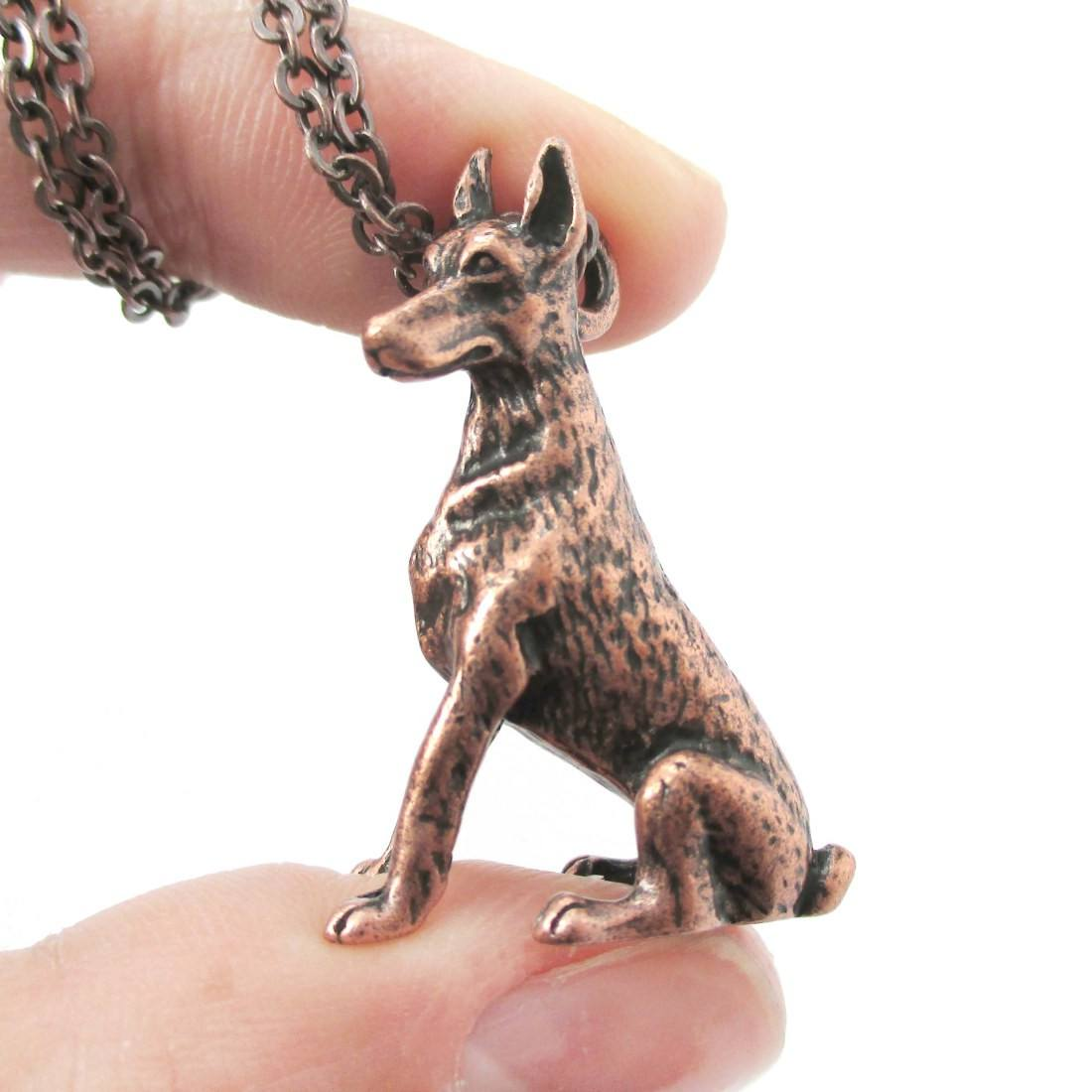 Realistic Doberman Pinscher Puppy Dog Shaped Pendant Necklace in Copper