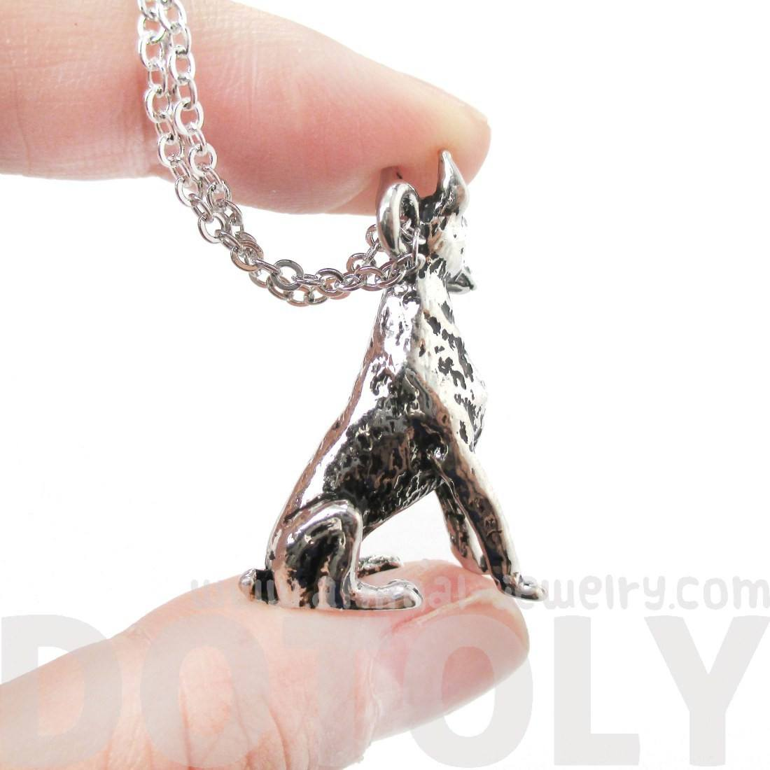 Doberman Pinscher Puppy Dog Shaped Pendant Necklace in Shiny Silver
