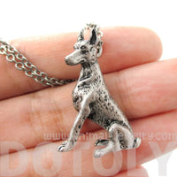 Realistic Doberman Pinscher Puppy Dog Shape Pendant Necklace in Silver