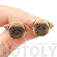 Realistic Pug Head Dog Breed Inspired Resin Stud Earrings | Handmade