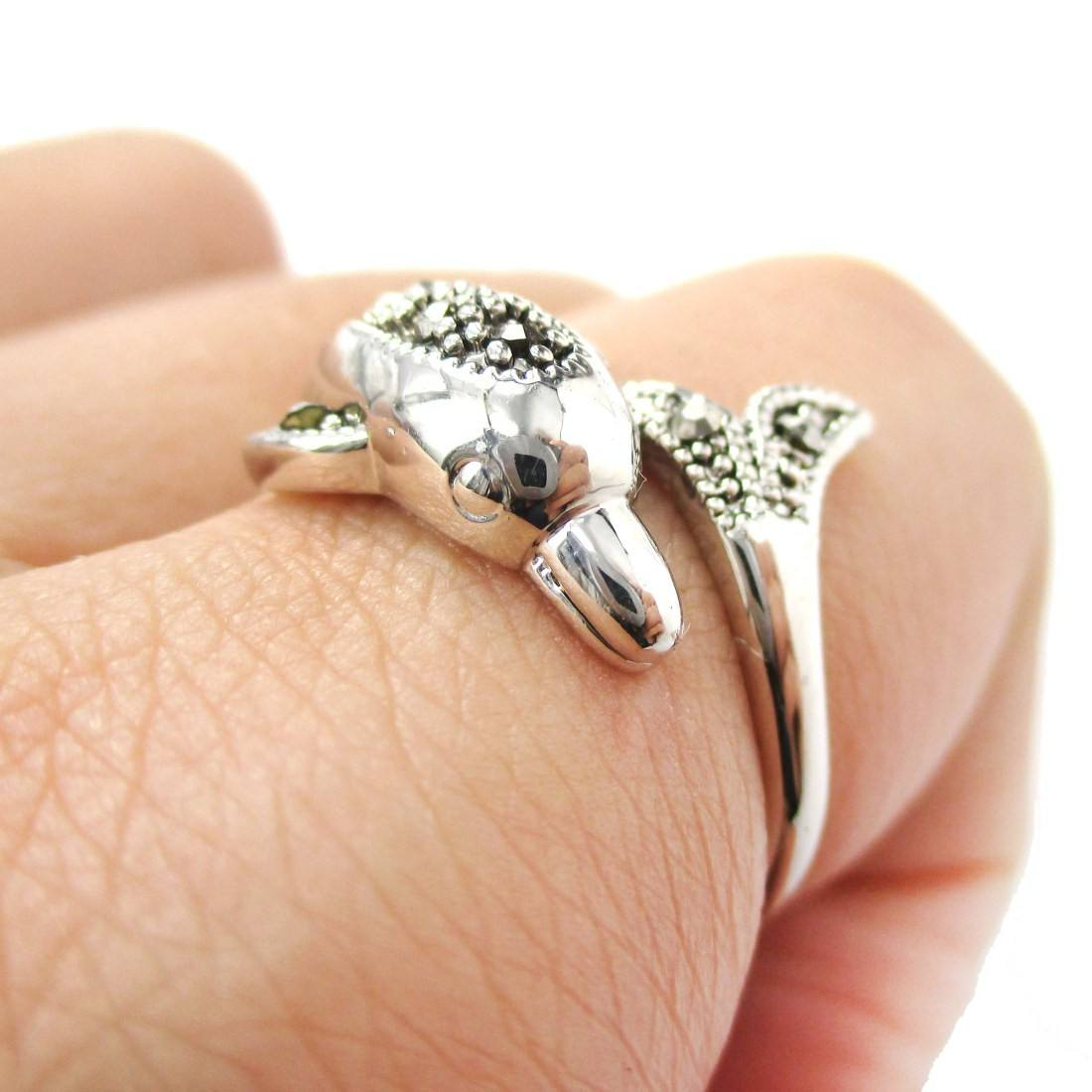 Realistic Dolphin Wrapped Around Your Finger Shape Ring
