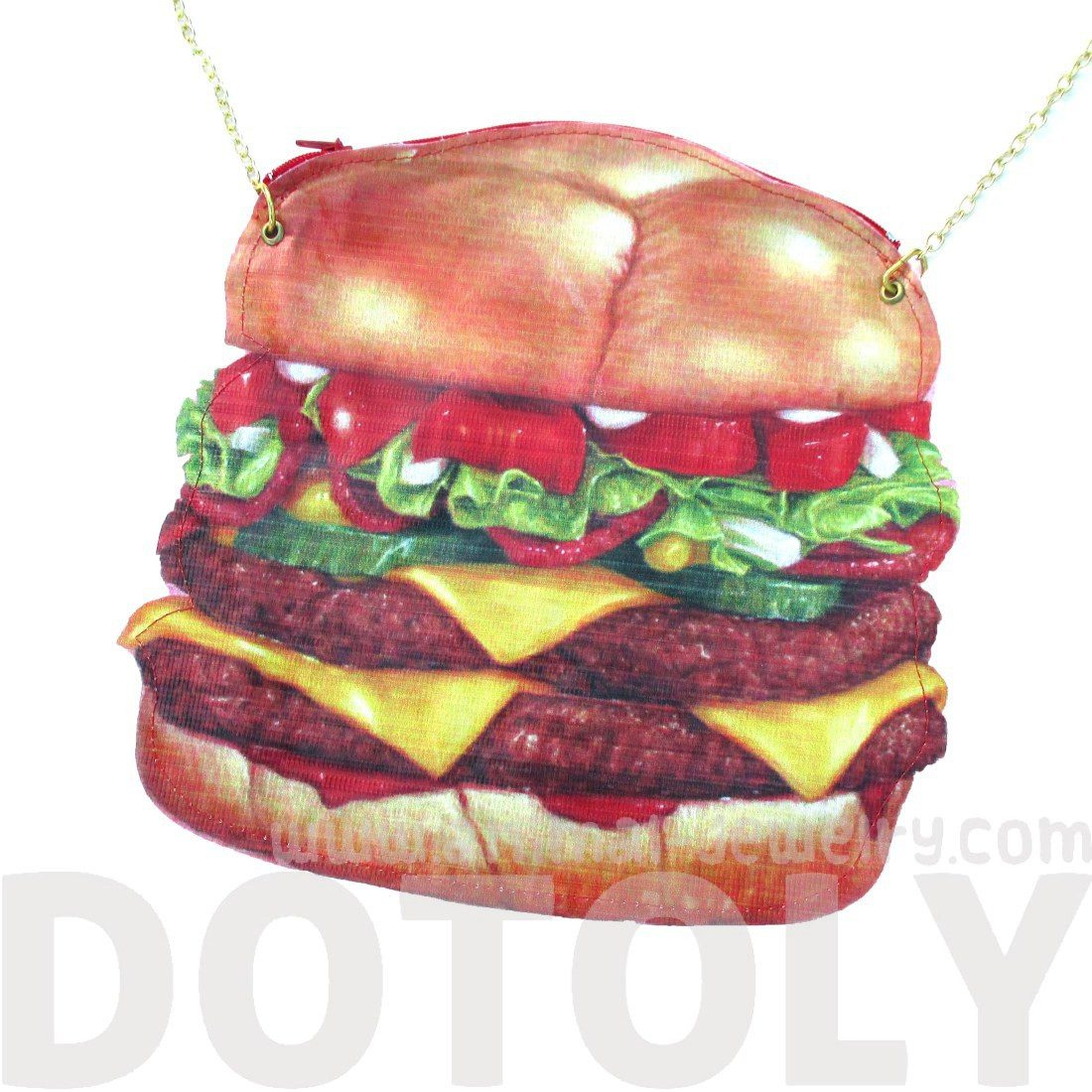 Realistic Double Cheeseburger Shaped Vinyl Cross Body Shoulder Bag